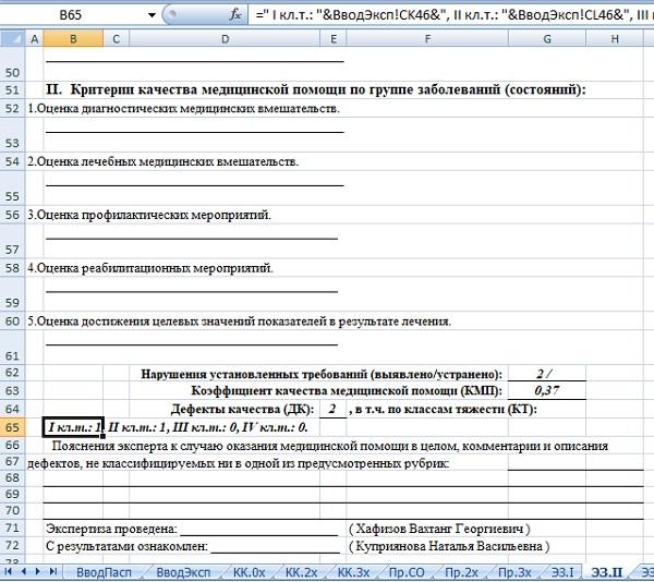 Рис 6. Экспертное заключение (фрагмент). Добавлен новый раздел и формулы для автоматического заполнения
