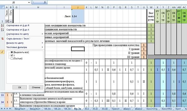 Рис 5. Автофильтр рабочей зоны эксперта (поля для заполнения экспертными оценками образуют один слитный массив)
