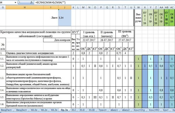Рис 4. Настроечные (зелёные) ячейки с предустановленным состоянием «включено» (содержат единицы) и поля для ввода экспертных оценок (голубые, синие) для каждого оцениваемого параметра